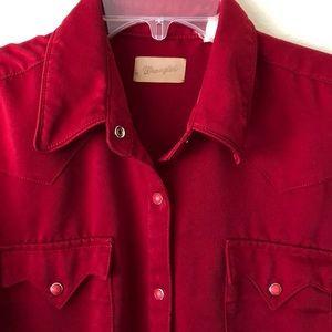 Vintage Wrangler snap shirt dark red sz medium